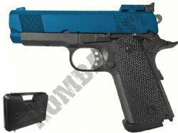 G193 1911 BB Gun Replica CO2 Blowback Airsoft Pistol 2 Tone Black & Blue Metal Slide
